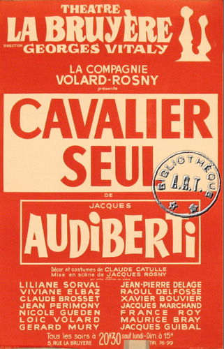 Affiches de th tre cavalier seul de jacques audiberti th tre la bruy re 1967 - Theatre de la bruyere ...