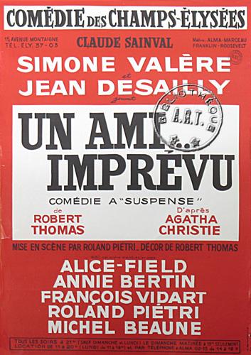 Affiches de th tre un ami impr vu de robert thomas com die des champs lys es 1969 - Comedie des champs elysees ...