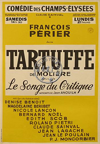 Affiches de th tre tartuffe de moli re com die des champs lys es 1960 - Comedie des champs elysees ...