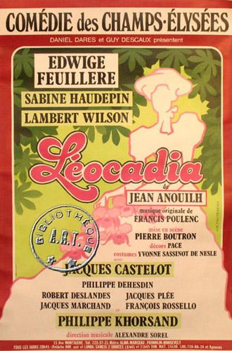 Affiches de th tre l ocadia de jean anouilh com die des champs lys es 1984 - Comedie des champs elysees ...