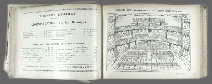 Le photo programme saison 1899 1900 - Plan salle theatre porte saint martin ...