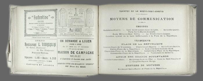 Le photo programme saison 1899 1900 - Plan salle theatre porte saint martin ...