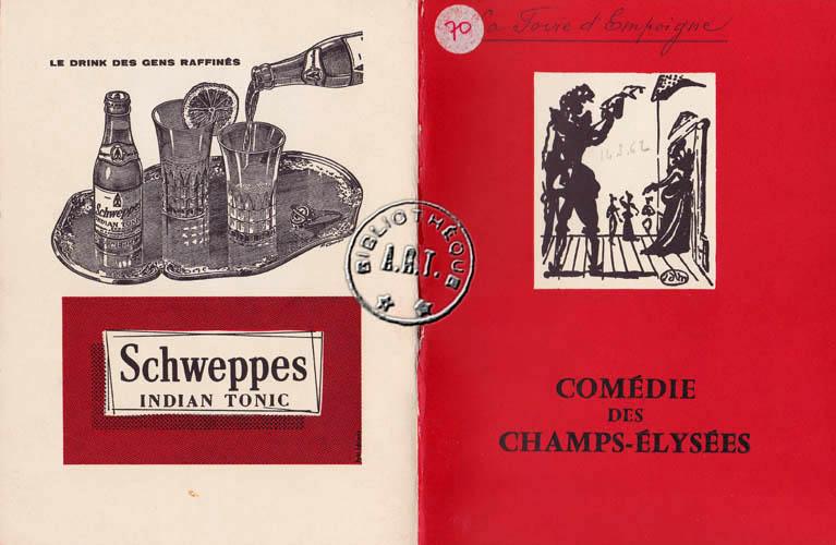Programmes originaux de th tre la foire d 39 empoigne de jean anouilh com die des champs - Comedie des champs elysees ...