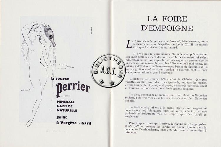 Programmes Originaux De Th Tre La Foire D Empoigne De Jean