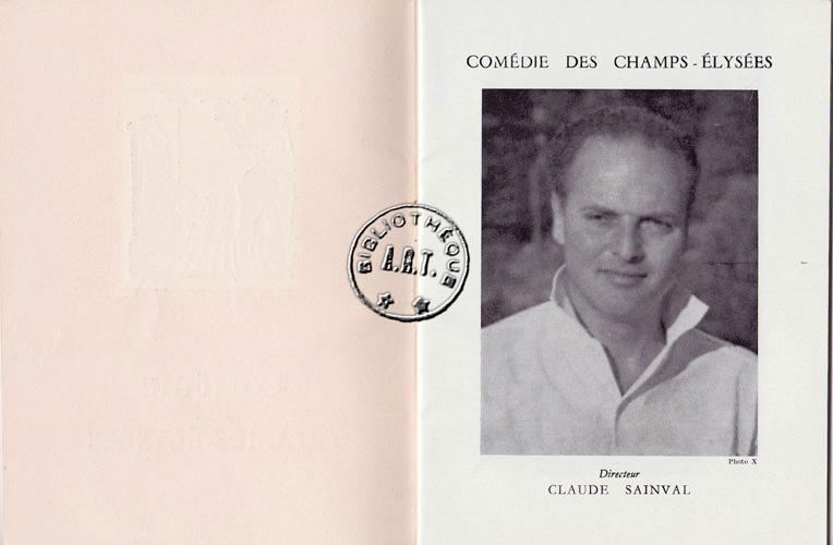 Programmes originaux de th tre l 39 hurluberlu de jean anouilh com die des champs lys es 1959 - Comedie des champs elysees ...