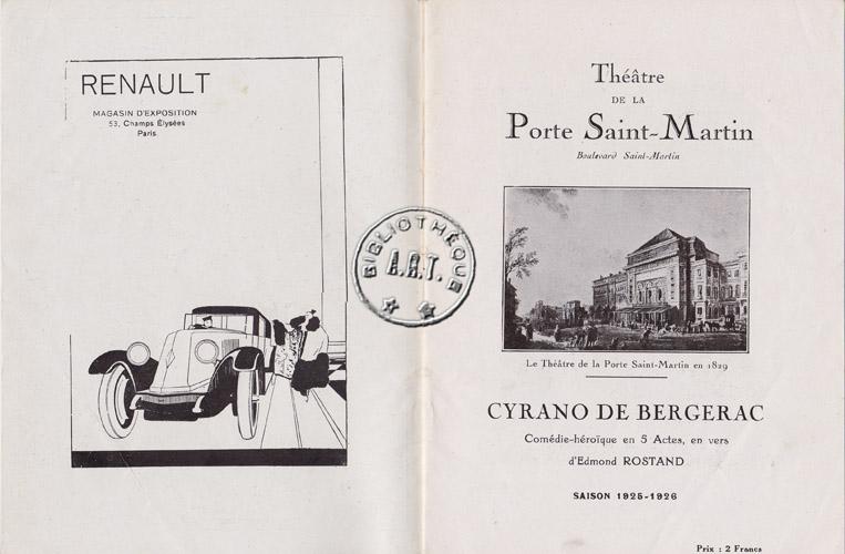 Cyrano de bergerac theatre de la porte saint martin - Petit theatre de la porte saint martin ...