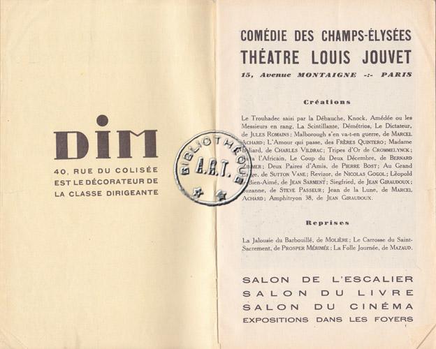 Programmes originaux de th tre amphitryon 38 de jean giraudoux com die des champs lys es 1929 - Comedie des champs elysees ...