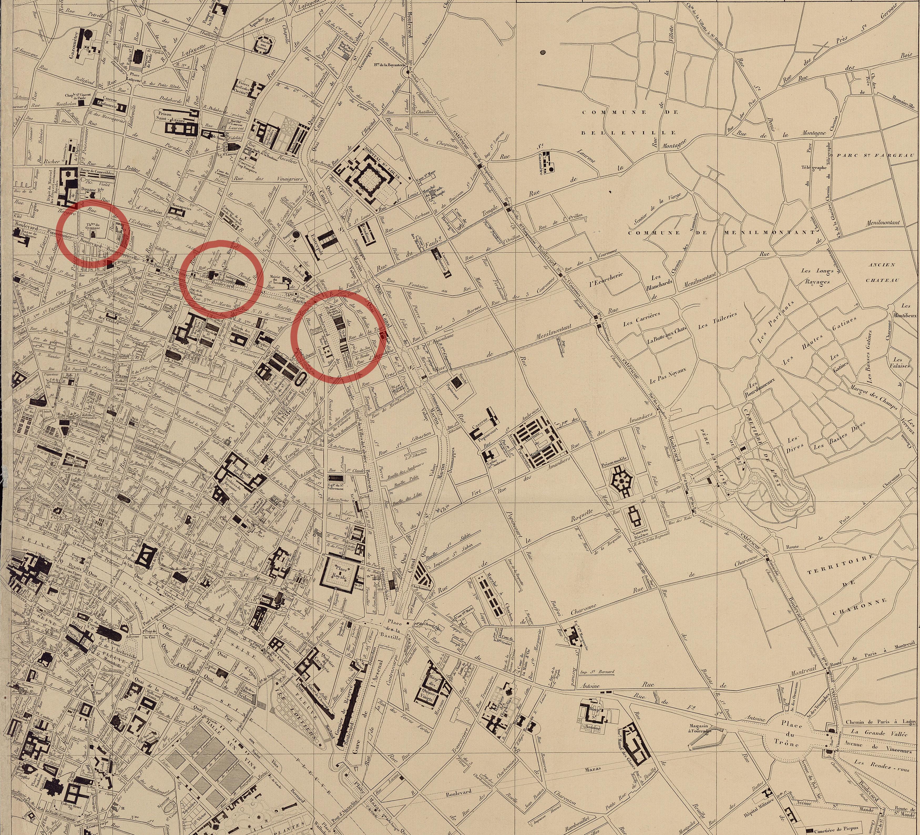 Histoire des th tres parisiens la restauration et la - Theatre de la porte saint martin plan ...